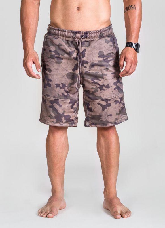 Bermuda Moletom Rajada Militar Camuflada Marron Deserto Masculina Casual Academia Fitness Street Wear Camo Squad Surty