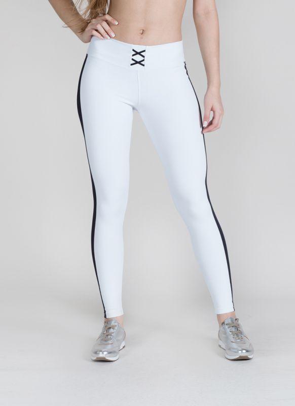 Calça Legging Branca Listra Feminina Academia Fitness Musculação Emana Corrida Sole Strip Surty