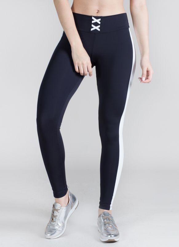Calça Legging Preta Feminina Treino Academia Fitness Corrida Listra Sole Strip Surty
